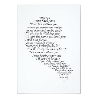 I Miss You  Text in Half of Heart Card