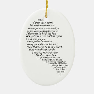 I Miss You  Text in Half of Heart Ceramic Ornament