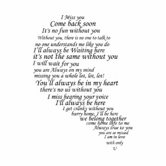 I Miss You  Text in Half of Heart Cutout