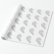 I Miss You  Text in Half of Heart Gift Wrap Paper