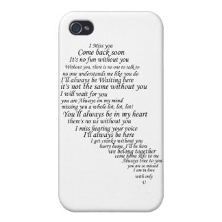 I Miss You Text in Half of Heart iPhone 4/4S Cover