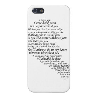 I Miss You Text in Half of Heart iPhone SE/5/5s Case
