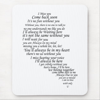 I Miss You  Text in Half of Heart Mousepads