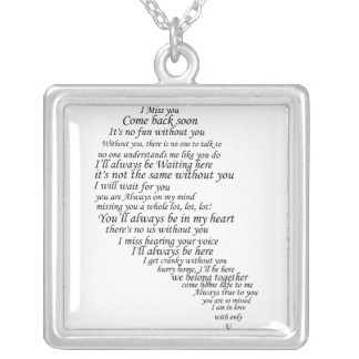 I Miss You  Text in Half of Heart Necklace