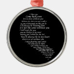 I Miss You  Text in Half of Heart Christmas Tree Ornament