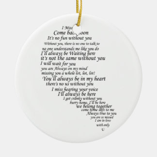 I Miss You  Text in Half of Heart Ornaments