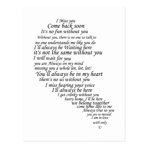 I Miss You  Text in Half of Heart Postcard