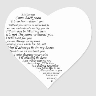 I Miss You  Text in Half of Heart Heart Sticker