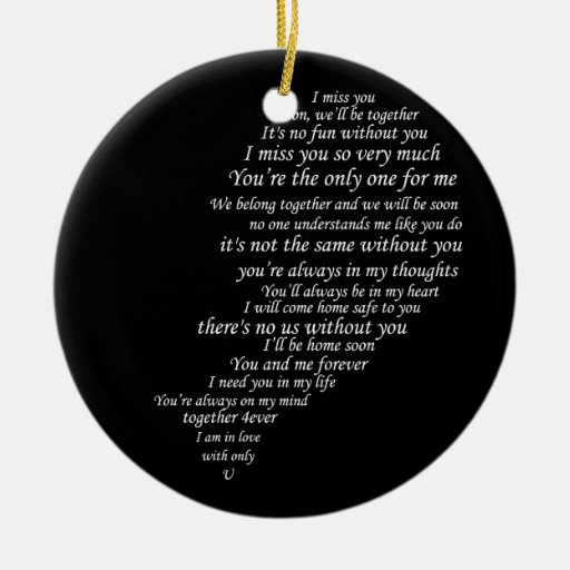 I Miss You  Text, too,  in Half of Heart Ceramic Ornament