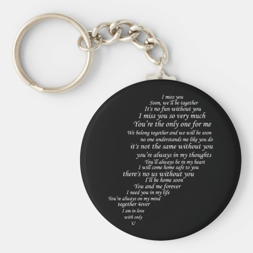 I Miss You  Text, too,  in Half of Heart Key Chains