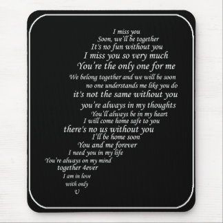I Miss You  Text, too,  in Half of Heart Mouse Pad