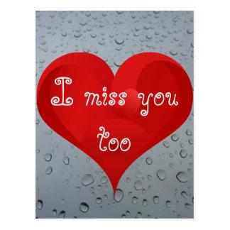 I miss you too, Water Drops Window Rain Red Heart Postcard