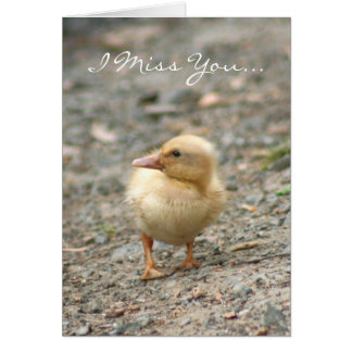 I Miss You yellow duckling greeting card