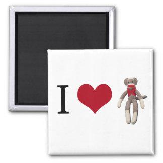 I mono del calcetín del corazón imán cuadrado