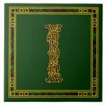 """I Monogram """"Irish Gold on Green"""" Ceramic Tiles Tile"""