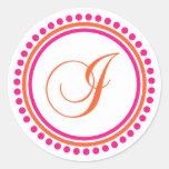 I Monogram (Pink / Orange Dot Circle) Round Sticker