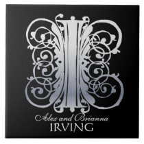 """I Monogram """"Silver Lace on Black"""" with Names Tile"""