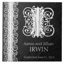 """i Monogram """"White Lace on Black"""" Wedding  Tile"""