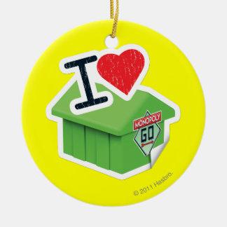 I monopolio del corazón adorno navideño redondo de cerámica