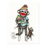 I monos del calcetín del corazón tarjetas postales