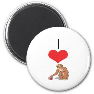 I monos del corazón (amor) imán redondo 5 cm