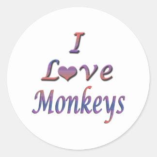 I monos del corazón (amor) pegatina redonda