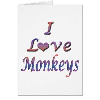I monos del corazón (amor) tarjeta de felicitación