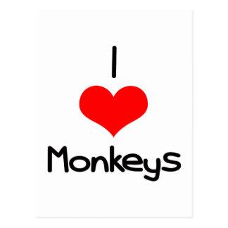I monos del corazón (amor) tarjetas postales