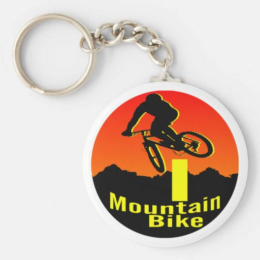 I Mountain Bike Basic Round Button Keychain