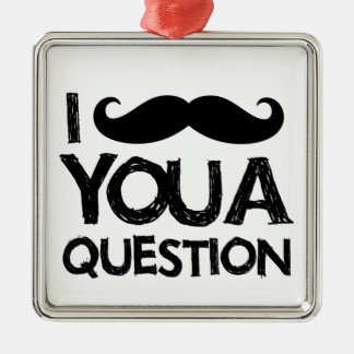 I moustache you a question (distressed design) christmas tree ornament