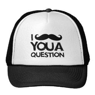 I moustache you a question (distressed design) trucker hat