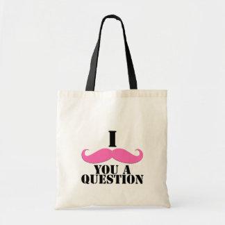 I Moustache You A Question Pink Moustache Budget Tote Bag