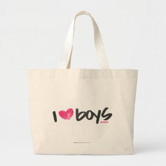 I muchachos del corazón magentas bolsa tela grande