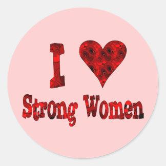 I mujeres fuertes del corazón etiquetas redondas