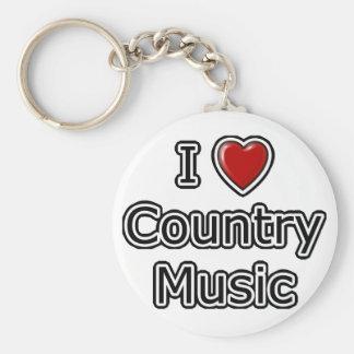 I música country del corazón llavero redondo tipo pin