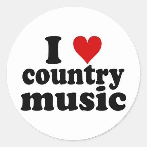I música country del corazón pegatina redonda