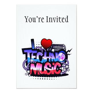 I música de Techno del corazón Invitación 12,7 X 17,8 Cm