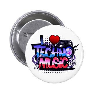 I música de Techno del corazón Pin Redondo De 2 Pulgadas