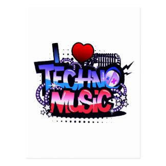 I música de Techno del corazón Tarjeta Postal