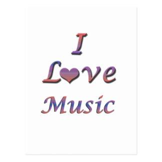 I música del corazón amor tarjetas postales