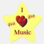 I música del corazón calcomanía forma de estrella personalizada