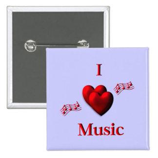I música del corazón pin cuadrado