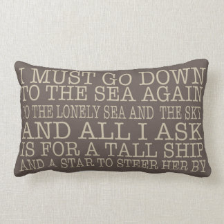 I Must Go Down to the Sea Pillow in Brown