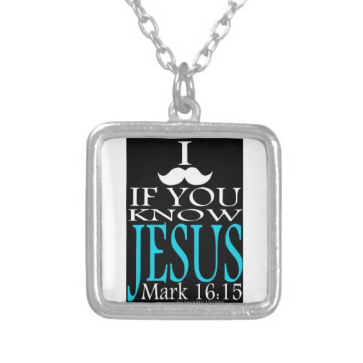 I Mustache if You Know Jesus Square Pendant Necklace