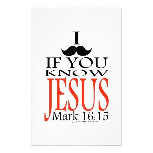 I Mustache if You Know Jesus Customized Stationery