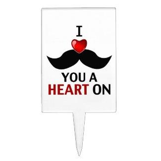 mustache valentine Cake Topper