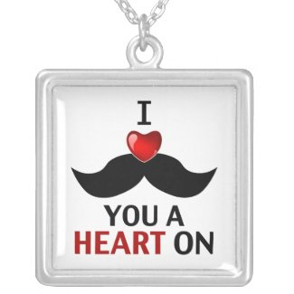 I Mustache You a Heart On Personalized Necklace