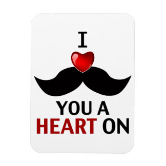 I Mustache You a Heart On Flexible Magnet