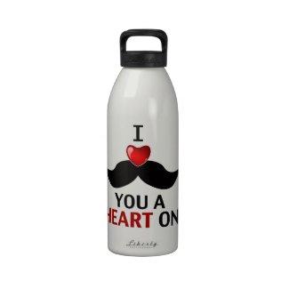 I Mustache You a Heart On Water Bottle