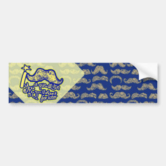 I mustache you a question blue & yellow car bumper sticker